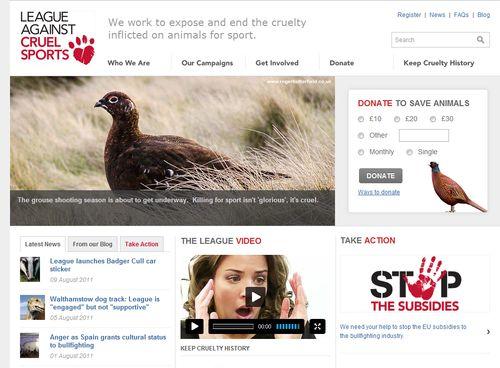 Screenshot of League Against Cruel Sports website